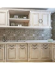 Contact Paper Peel And Stick Wallpaper - 45x200cm Heat Resistance Waterproof wall sticks Mosaic Aluminum Foil Self-adhensive Anti Oil Wallpaper - Peel And Stick Tile Backsplash
