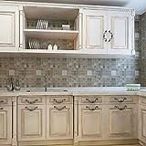 Contact Paper Peel And Stick Wallpaper - 45x200cm Heat Resistance Waterproof wall sticks Mosaic Aluminum Foil Self-adhensive Anti Oil Wallpaper - Peel And Stick Tile Backsplash (Brown)