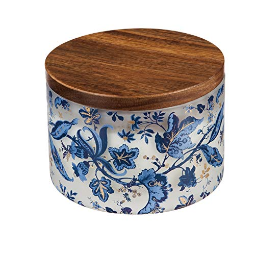 (Evergreen Garden Blue Floral Toile Vine Glass Citronella Z-Candle with Wooden Lid)