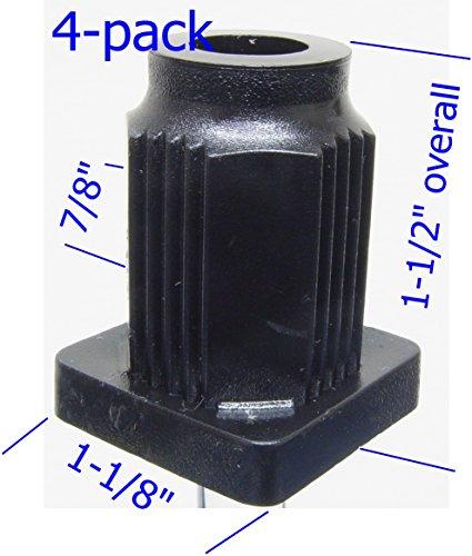 Oajen caster socket for 7/16 diameter grip ring stem, 4-pack, 1 OD square tube 16 gauge, heavy duty, 7/8 socket OD