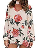 M&S&W Womens Sexy Floral Print Long Sleeve Choker V Neck Blouses Tops Apricot 2XL