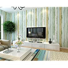 Wallpaper Wood Plank Mediterranean Striped Nonwovens Environmental Zero Formaldehyde Retro Wallpaper