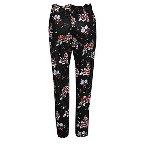 a stampa Csndion Black a con floreale matita vita con vita e Pantalone coulisse pantaloni alta a alta qxftw0Ux