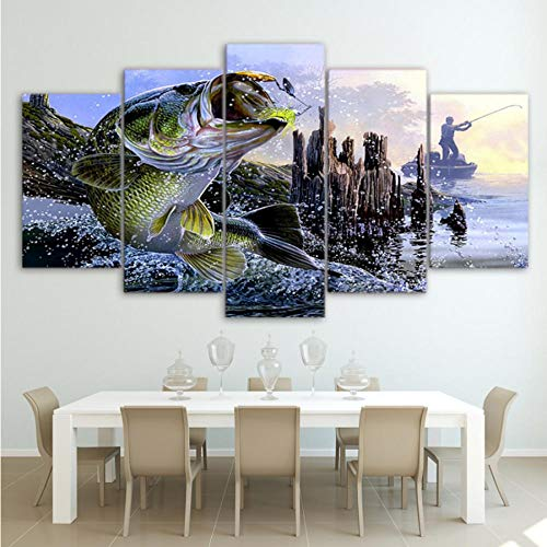 guanguangllf Picture Wall Art Album Canvas 5 Big carp Fishing Landscape Painting Home Decoration Modern Poster