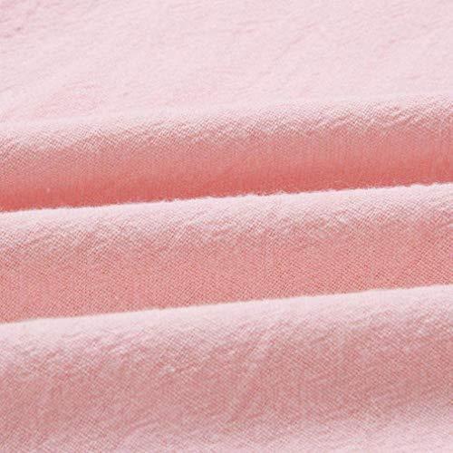 Ropa Playa Vestido Camisetas de Fiesta Mini Vestir Mujeres de Largas Retro Verano Casual Botones Chaleco de Niña Vestido Vestido Faldas Rosa Impresión Zolimx Mujer RS76B