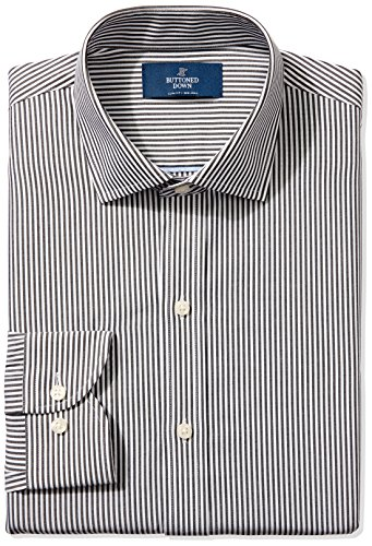 BUTTONED DOWN Men's Slim Fit Spread-Collar Non-Iron Dress Shirt, black Bengal Stripe, 16.5