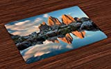 Lunarable Landscape Place Mats Set of 4, Italian Alps Europe South Triol Dolomites Nature Photography Famous Touristic, Washable Fabric Placemats for Dining Room Kitchen Table Decor, Multicolor
