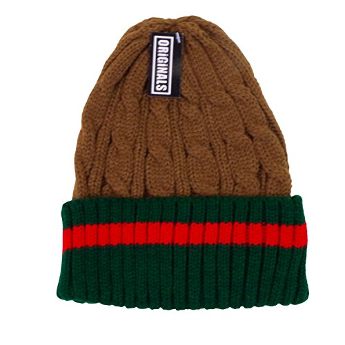 Originals Beanie Ribbed Cable Knit Red Green Stripe Cuff Ski Snow Warm Winter Unisex Beany ()