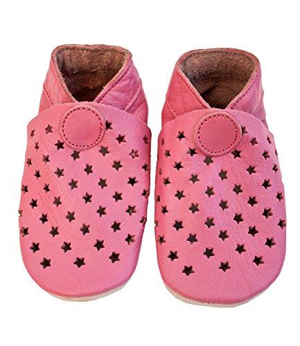 """CELAVI piel Zapatos/unidad lernschuhe/hogar talla 19–28""""Estrellas en color rosa NUEVO rosa Talla:21/22 EU"""