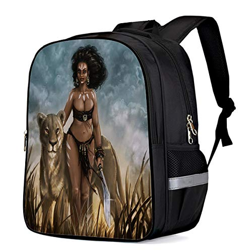 Unisex Classic Backpack Water Resistant 21L for College Student,Men,Women Sexy Afro American Woman Wild Leopard School Bag Business/Outdoor/Travel Fits 15Inch Laptop&Notebook