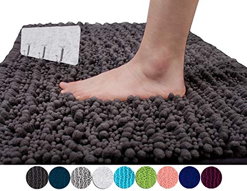 Yimobra Original Luxury Shaggy Bath Mat Large Size 31.5 X 19.8 Inch Super Absorbent Water,Non-Slip,Machine-Washable,Soft and Cozy,Thick Modern for Bathroom,Floor,Dark Gray (Presented 3 Pack Hooks)