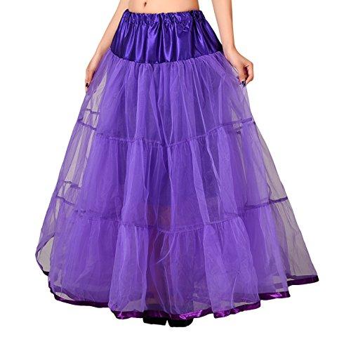 Bridal _ Mall Wedding Bridal suelo largo Petticoat maduro Rock enagua Fancy 50s Vintage vestido morado