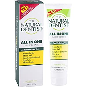 The Natural Dentist All-in-One Toothpaste, 5 Ounce Tube, Peppermint Twist Flavored, Reduces Plaque, Helps Prevent Gingivitis, No SLS