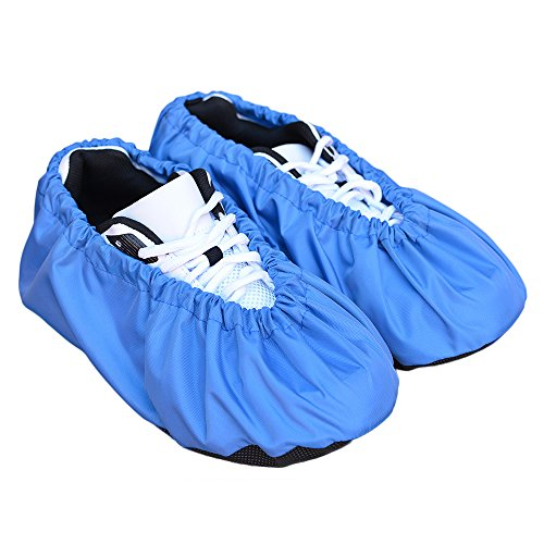 MyShoeCovers Premium Reusable Shoe and Boot Covers for Contractors - Pair, Blue, Large (Best Rated Polyurethane For Hardwood Floors)