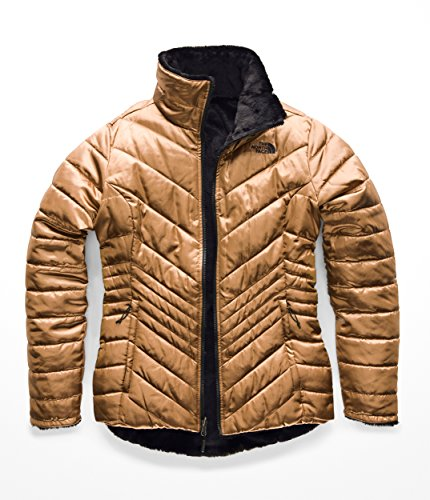 The North Face Women's Mossbud Insulated Reversible Jacket - Metallic Copper & TNF Black - S (Denali Jacket Womens)