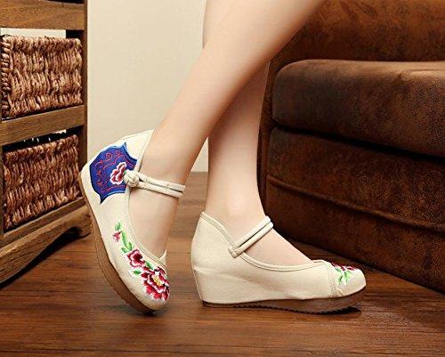 WXT Zapatos bordados, lino, lenguado del tendón, estilo étnico, zapatos femeninos, manera, cómodo, zapatos de lona los 5cm beige