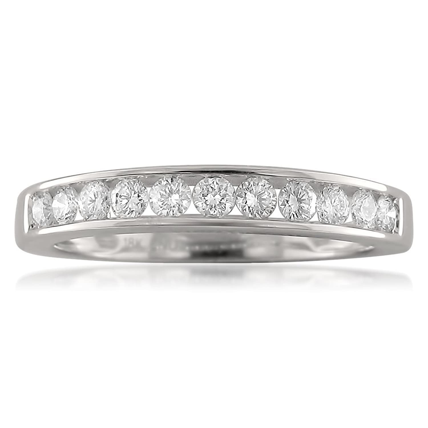 18k White Gold 11-Stone Round Diamond Bridal Wedding Band Ring (1/2 cttw, I-J, VS2-SI1)