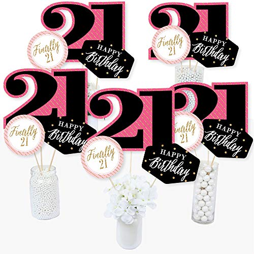 Finally 21 Girl - 21st Birthday Party Centerpiece Sticks - Table Toppers - Set of 15 -