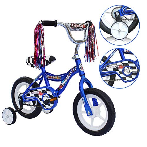 (ChromeWheels 12 inch Bike for 2-4 Years Old Kids, EVA Tires and Training Wheels,Great for Beginner, Blue)