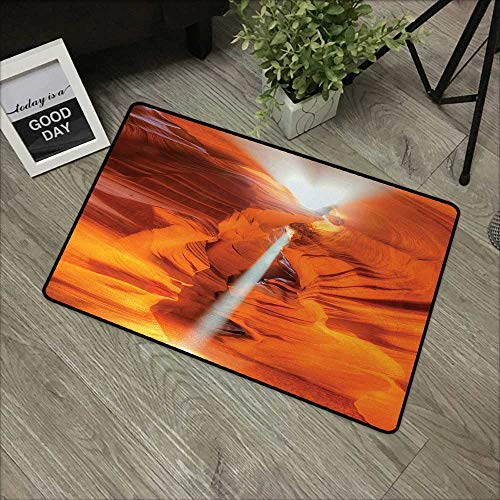 Children's mat W35 x L59 INCH Americana,Majestic Scenery Sunbeam Sandstone Antelope Canyon Nature Spirituality,Orange Yellow White Our bottom is non-slip and will not let the baby slip,Door Mat Carpet ()