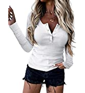 BTFBM Women Long Sleeve V Neck Button Up Solid Tops Blouses Trendy Slim Fit Lace Sleeves Ribbed K...