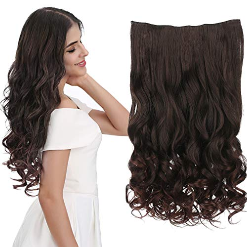 "REECHO 20"" 1-pack 3/4 Full Head Curly Wave Clips in on Synthetic Hair Extensions Hair pieces for Women 5 Clips 4.6 Oz Per Piece - Dark brown"