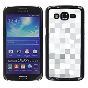 TopCaseStore / la caja del caucho duro de la cubierta de protección de la piel - White squares Pattern - Samsung Galaxy Grand 2 SM-G7102 SM-G7105