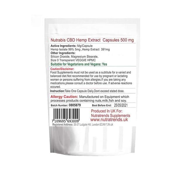 Nutra Hemp Oil Capsules 500 mg, Vegan, UK Produced. (30 Capsules)