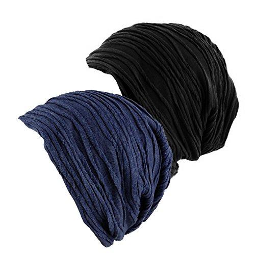1-2 Pack Chemo Headwear Beanies Cancer Caps for Women Men Slouchy Unisex Wrinkled Skull Hat - http://coolthings.us