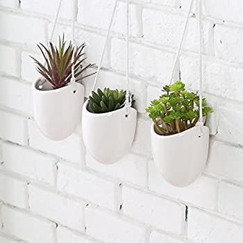 Amazon Com White Ceramic Rope Hanging Planter Set With 4
