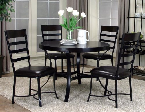 Roundhill Furniture Erica Black Metal and Espresso Wood Dining Set