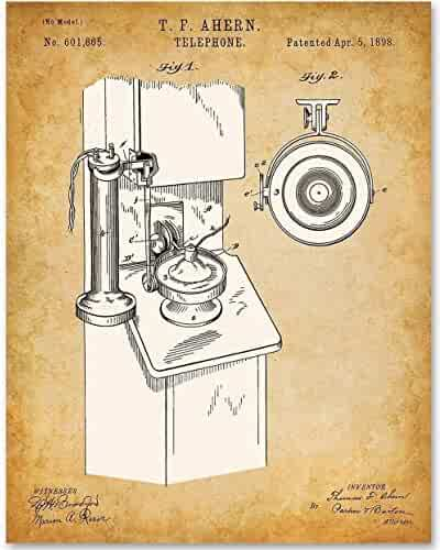 Telephone - 11x14 Unframed Patent Print - Makes a Great Gift Under $15 for Country Decor