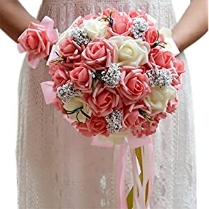 ThyWay Bridesmaid Wedding Bouquet, Bridal Artificial Silk Roses Flowers With Beautiful Ribbon (Champagne) 110