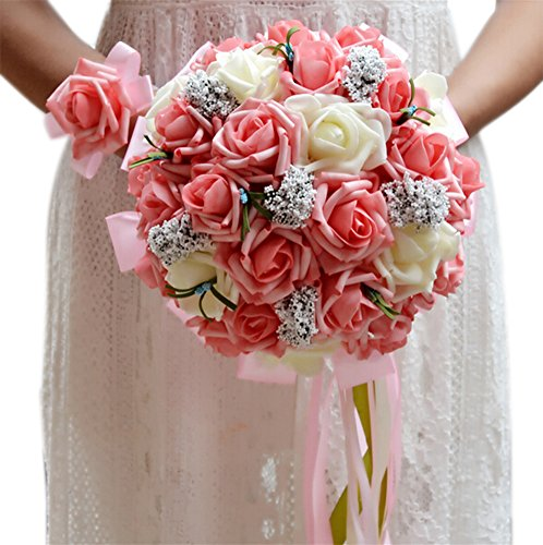 Beautiful Rose Bouquet - ThyWay Bridesmaid Wedding Bouquet, Bridal Artificial Silk Roses Flowers With Beautiful Ribbon (Champagne)