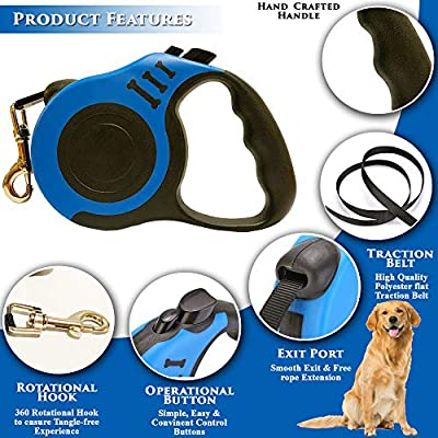 Retractable Dog Leash for Medium - Small Dogs and Cats 16.5FT Tangle Free, Heavy Duty Walking Leash with Anti Slip Handle, Pause and Lock Strong Nylon Tape, Store Dog Leash Retractable