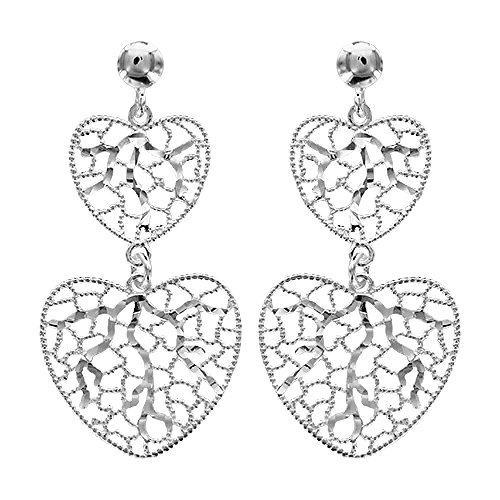 Sterling Silver Carved Heart Earrings (So Chic Jewels - 925 Sterling Silver 2 Carved Hearts Dangle Earrings)