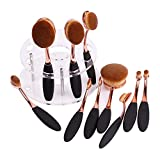 Docolor 10Pcs Oval Makeup Brush Set With Stand Toothbrush Shelf Holder(Golden New Set with Holder)