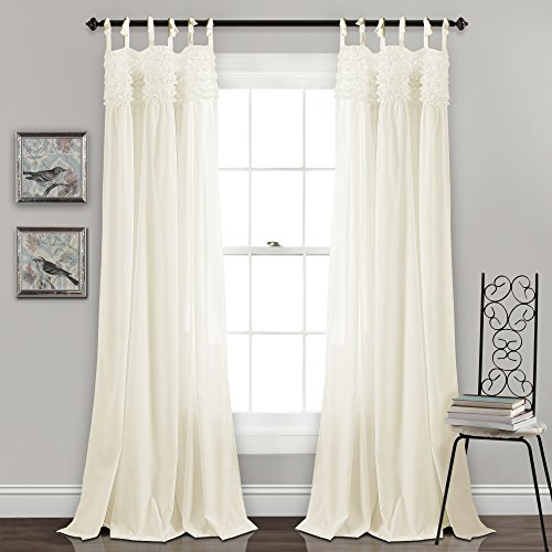 Lush Decor Lydia Curtains Ruffle Window Panel Set for Living, Dining, Bedroom (Pair), 84