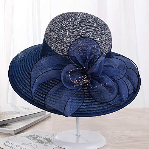 URNGLB Large Wide Brim Organza Flower Sun Ladies Kentucky Derby Wedding Party Dress Floppy Summer Hats for Women 5