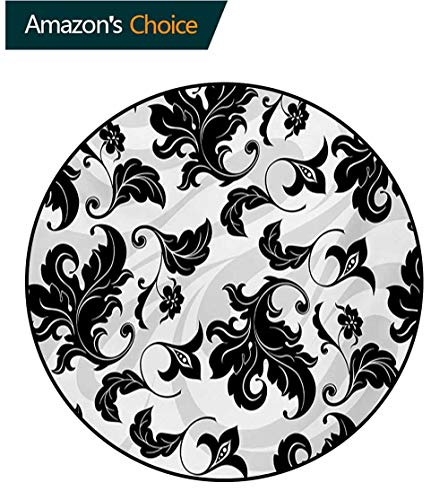 Ivy Leaf Spray - RUGSMAT Floral Modern Washable Round Bath Mat,Flower Leaves Ivy Plant Swirl Like Image with Abstract Shadow Print Non-Slip Bathroom Soft Floor Mat Home Decor,Round-63 Inch Black White and Pale Grey