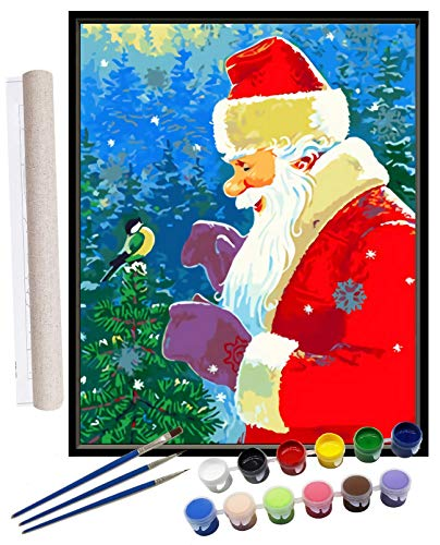 DIY Paint by Numbers for Adults Beginner Kids Christmas Santa Claus Acrylic Canvas Oil Painting by Number Kit for Home Wall Living Room Bedroom Decoration 16x20Inch (Rolled Package)