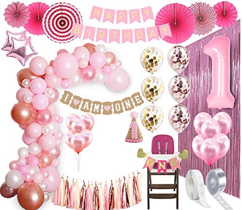 1st Birthday Girl Decorations| Balloon Arch Kit 1st Birthday Party Supplies| Rose Gold Party Decorations | Rose Gold Confetti Balloons | Happy First Bday Princess Decorations| First Birthday Pink]()