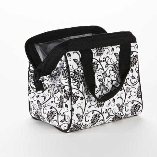Fit & Fresh Women's Downtown Insulated Lunch Bag with Zipper Closure and Exterior Pocket, Stylish Adult Lunch Box for Work, Ebony Floral by Fit & Fresh (Image #1)
