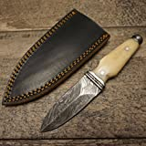 HTS-400b Bone BOOT KNIFE / 3'' Blade / Hand Crafted and Hand Forged/ Damascus Steel / Fire Pattern / Clip Sheath