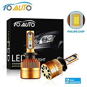ToAUTO H7 LED Headlight Kit Bulbs with Super Bright Philips Chips ,All-in-One Conversion kit 8000LM 6000K , Replace for Hid or Halogen Bulbs - Xenon White