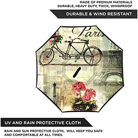 パリ 逆さ傘 逆折り式傘 車用傘 耐風 撥水 遮光遮熱 大きい 手離れC型手元 梅雨 紫外線対策 晴雨兼用 ビジネス用 車用 UVカット
