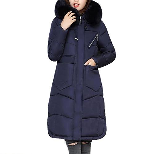 K-youth® Abrigos De Mujer Invierno Plumas Largos Chaqueta Parka Espesar con Capucha Pelaje Collar