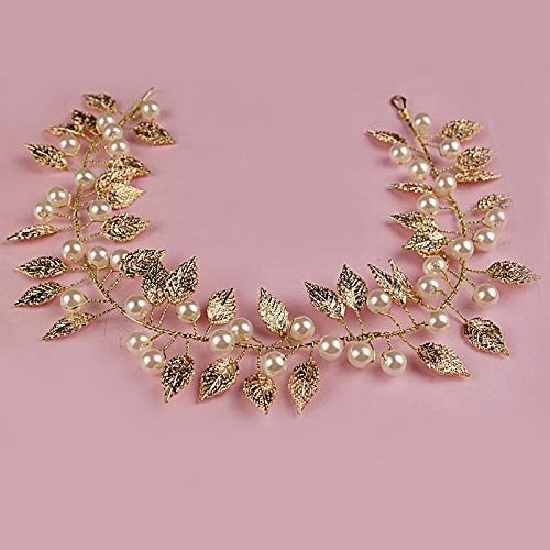 2017 Romantic Vintage Hair Accessories Gold Color Wedding Hair Band Pearl Head Piece Bridal Leaf Hair Vine Bride Hair Jewelry ()