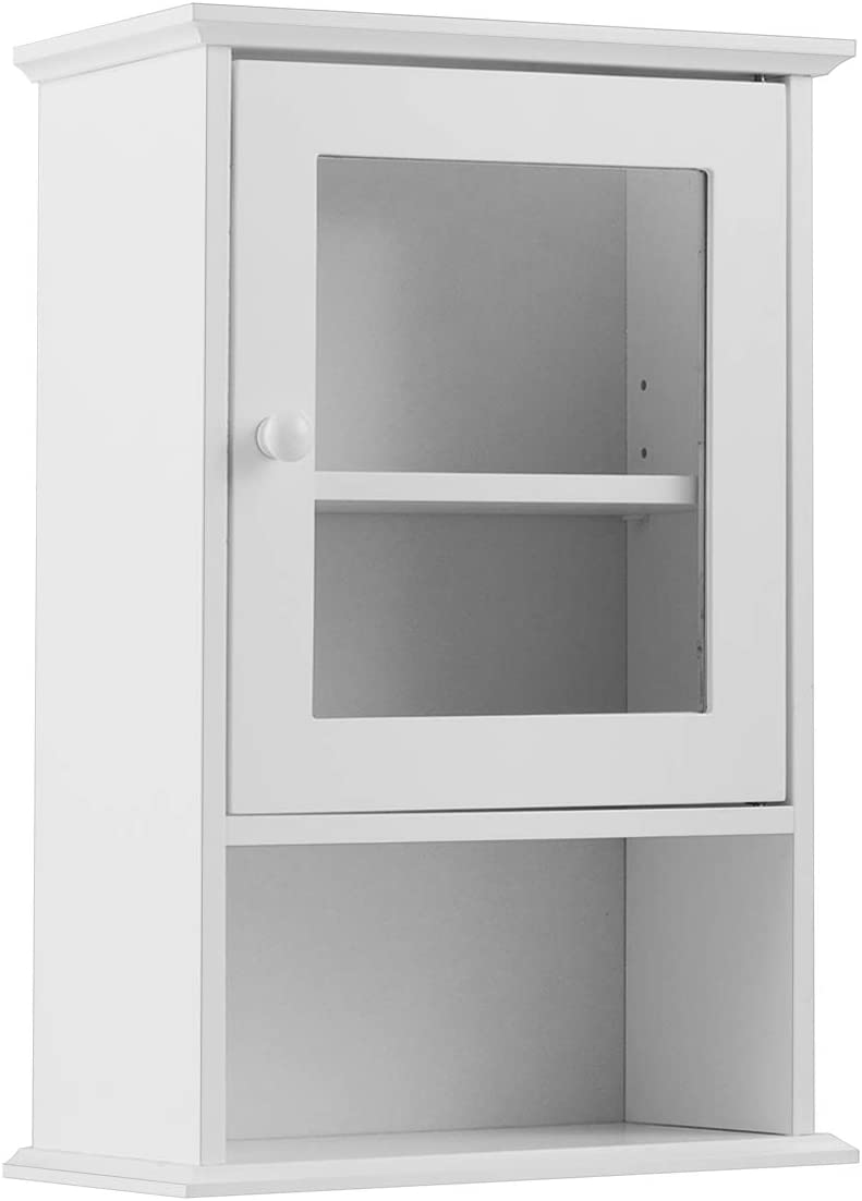 Casart Bathroom Wall Cabinet with Door, Hanging Storage Organizer with Open Shelf, Wall Mounted Medicine Cabinet
