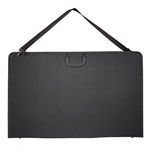 Art Portfolio Case - Artist Portfolios Case - Artist Carrying Case with Shoulder Strap, Black, 34.5 x 1.5 x 23 inches by Juvale